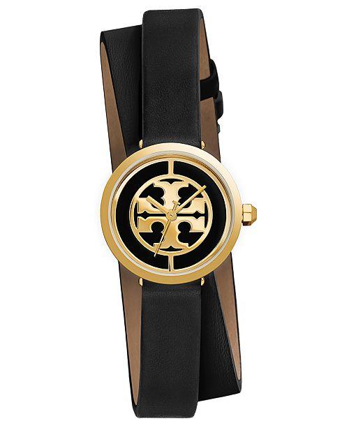 a4648416f Tory Burch Women's Reva Black Leather Wrap Strap Watch 28mm ...