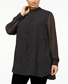 Plus Size Mixed-Dot Tunic
