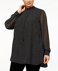 Anne Klein Plus Size Mixed-Dot Tunic
