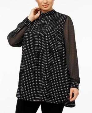 Image of Anne Klein Plus Size Mixed-Dot Tunic