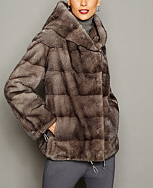 The Fur Vault Mink Fur Hooded Jacket