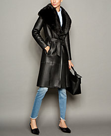 The Fur Vault Shearling Lamb Belted Coat