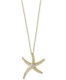 Seaside by EFFY® Diamond Pavé Starfish Pendant Necklace (1/2 ct. t.w.) in 14k Gold