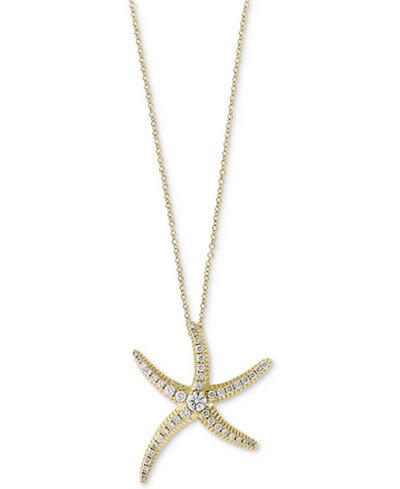 Seaside by EFFY® Diamond Pavé Starfish Pendant Necklace (1/2 ct. t.w.) in 14k Gold