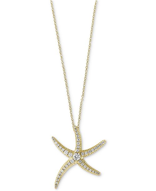 EFFY Collection Seaside by EFFY® Diamond Pavé Starfish Pendant Necklace (1/2 ct. t.w.) in 14k Gold