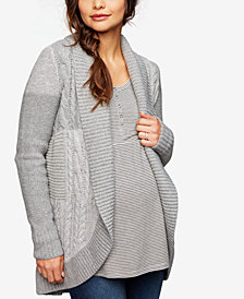 A Pea In The Pod Maternity Cable-Knit Open-Front Cardigan