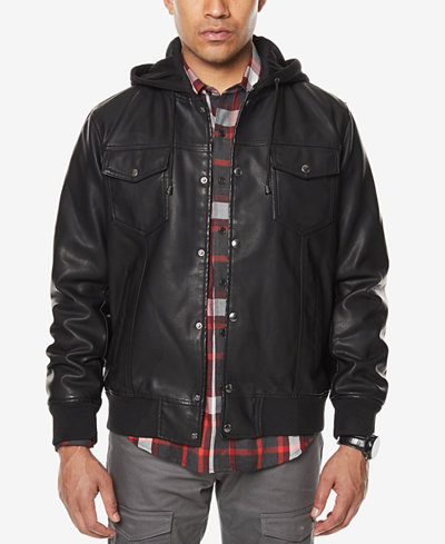 Sean John Men's Faux-Leather Hooded Jacket, Created for Macy's ...