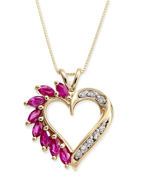 Macy's Ruby (3/4 ct. t.w.) & Diamond Accent Heart Pendant Necklace in 14k Gold
