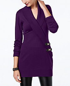 I.N.C. Surplice Buckle Tunic Sweater, Created for Macy's