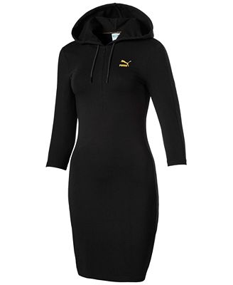 Puma T7 Metallic Logo Hooded Sweater Dress - Dresses - Women - Macy's