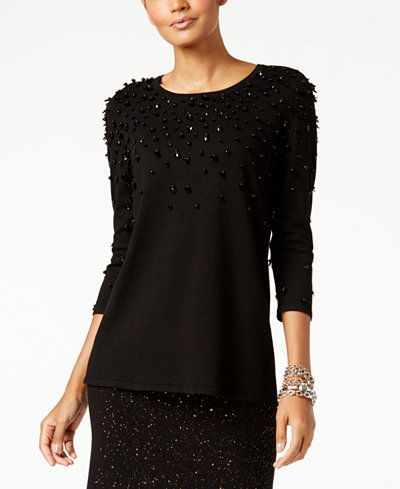 Alfani Petite Faux-Pearl-Embellished Sweater, Created for Macy's