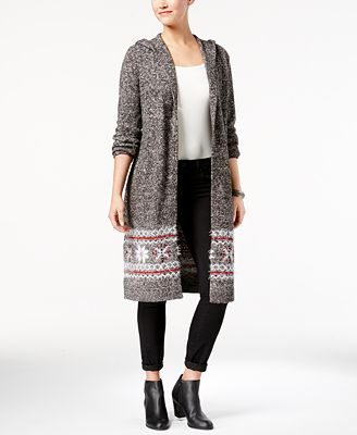 Style & Co Fair Isle Hooded Cardigan Jacket, Created for Macy's ...