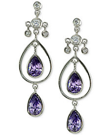 Giani Bernini Cubic Zirconia Double Teardrop Drop Earrings in Sterling Silver, Created for Macy's