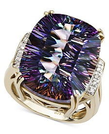 Mystic Topaz (11 ct. t.w.) and Diamond Accent Ring in 14k Gold