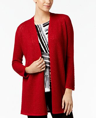 Alfani Petite Metallic Textured Cardigan, Created for Macy's