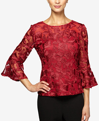 Alex Evenings Petite Embroidered Bell Sleeve Blouse Tops
