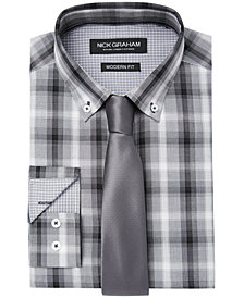 Nick Graham Men's Fitted Shadow Plaid Dress Shirt & Solid Tie Set