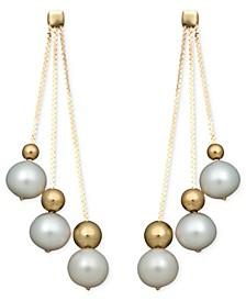 Pearl Earrings, 14k Cultured Freshwater Pearl Triple Bead Drop (6-7mm)
