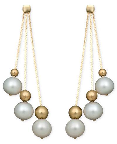 Belle de Mer Pearl Earrings, 14k Cultured Freshwater Pearl Triple Bead Drop (6-7mm)