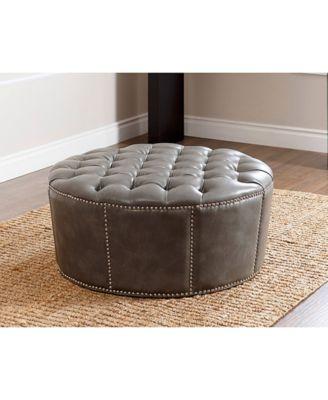 Bon Abbyson Living Micah Nailhead Trim Leather Ottoman, Quick Ship   Furniture    Macyu0027s