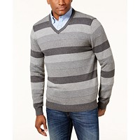 Club Room Mens Striped V-Neck Sweater (Charcoal Heather)