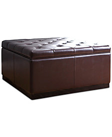 Drake Square Leather Storage Ottoman, Quick Ship