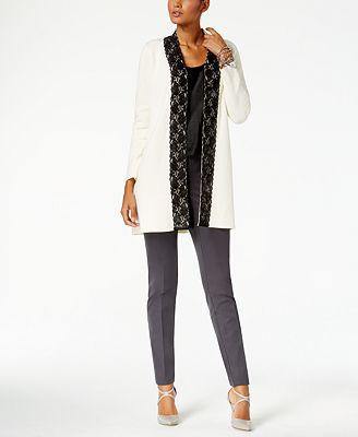 Alfani Lace-Trim Cardigan, Created for Macy's - Sweaters - Women ...