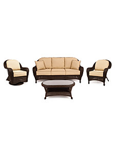 Monterey Outdoor Wicker 4-Pc. Seating Set with Sunbrella® Cushions  (1 Sofa, 1 Club Chair, 1 Swivel Glider and 1 Coffee Table), Created for Macy's