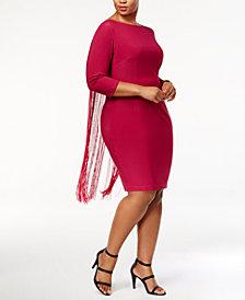 Monif C. Trendy Plus Size Fringe-Back Bodycon Dress
