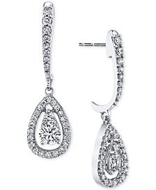 Diamond Orbital Teardrop Drop Earrings (1 ct. t.w.) in 14k White Gold