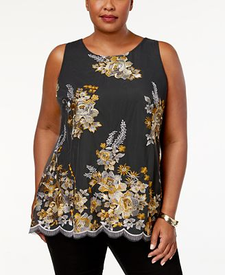 Charter Club Plus Size Embroidered Mesh Blouse, Created for Macy's