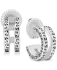 Lois Hill Scroll Work Filigree Double Huggie Hoop Earrings in Sterling Silver
