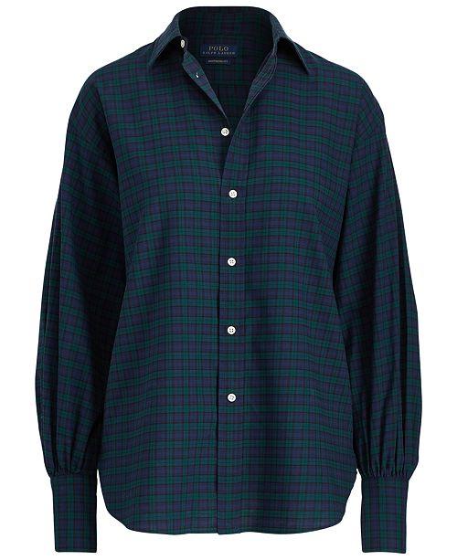 60763ddd Polo Ralph Lauren Tartan Flannel Cotton Boyfriend Shirt & Reviews ...