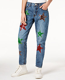 Glam by Glamorous Cotton Star-Patch Girlfriend Jeans