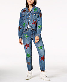 Glam by Glamorous Cotton Star-Patch Denim Jacket & Girlfriend Jeans