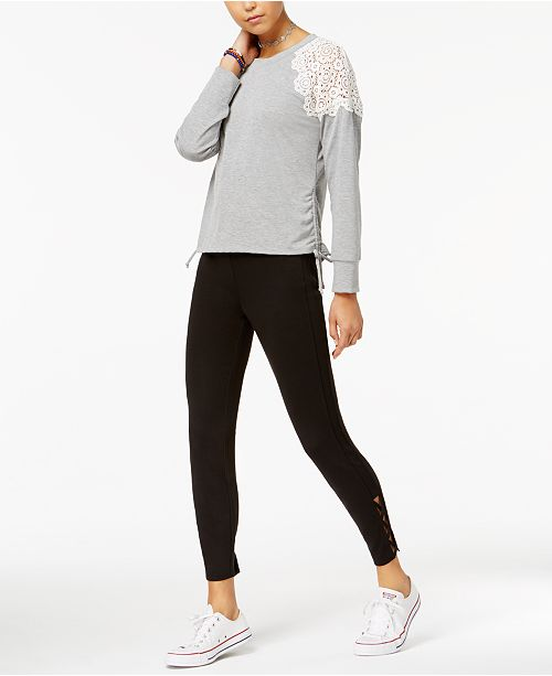American Rag Juniors' Lace-Trim Sweatshirt & Crisscross Leggings, Created for Macy's