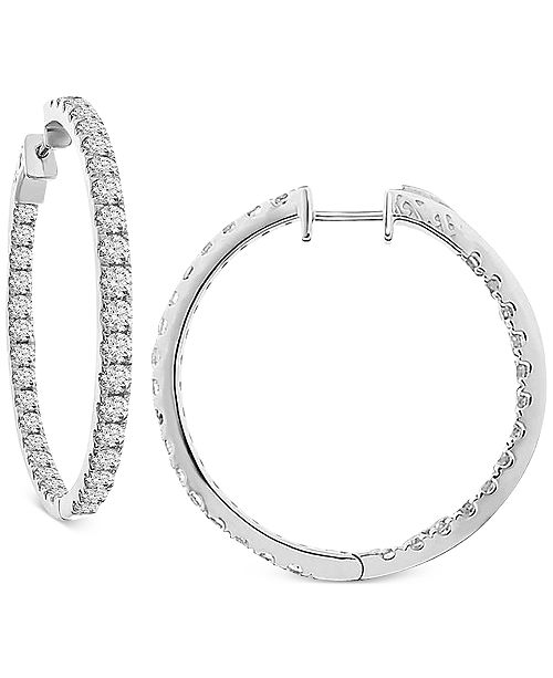 Macy's Diamond In and Out Hoop Earrings (7 ct. t.w.) in 14k White Gold