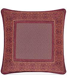 "J Queen New York Ellington Red 18"" Square Decorative Pillow"
