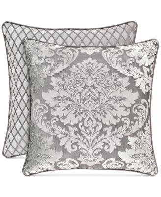 "Bel Air Reversible Silver 18"" Square Decorative Pillow"