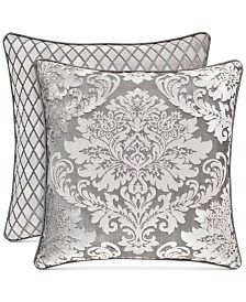 "J Queen New York Bel Air Reversible Silver 18"" Square Decorative Pillow"