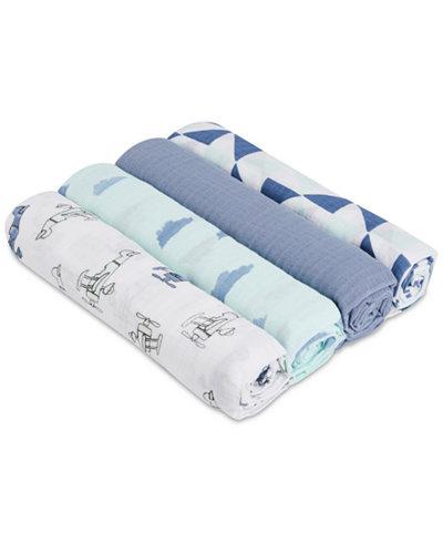 aden by aden + anais 4-Pk. Cotton Sky High Swaddle Blankets, Baby Boys