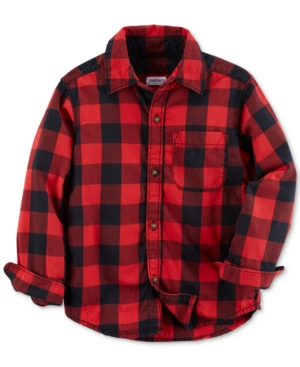 Carters Toddler Long Sleeved Red Buffalo Check Shirt Toddler Boys (2T5T)
