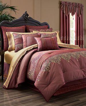 J Queen New York Ellington 4-Pc. Red Queen Comforter Set Bedding 5112734