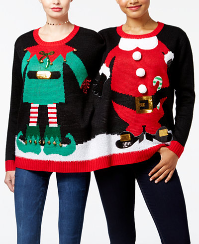 Hooked Up by IOT Juniors' Elf and Santa 2-Person Sweater