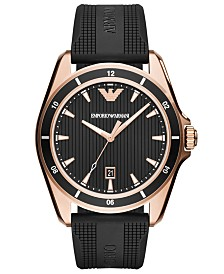 Emporio Armani Men's Black Rubber Strap Watch 44mm
