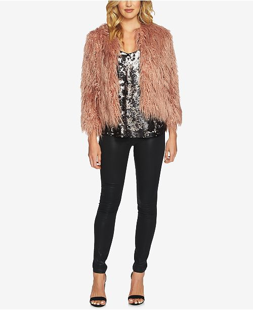 c2f9ccbce92b35 1.STATE Cropped Faux-Fur Jacket   Sequin Camisole   Reviews ...