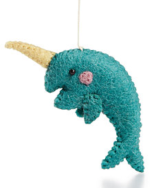 Global Goods Partners Felt Narwhal Ornament