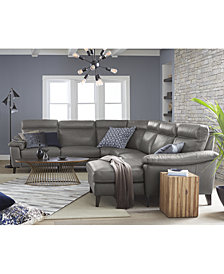 CLOSEOUT! Pirello Leather Power Reclining Sectional Sofa Collection with Power Headrest and USB Port, Created For Macy's