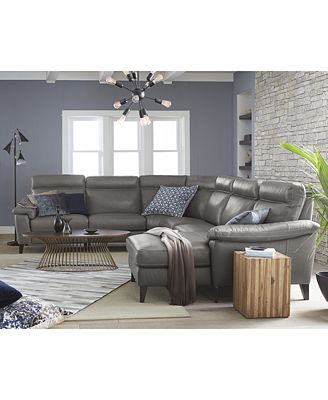 Furniture Closeout Pirello 6 Pc Leather Sectional Sofa With 3