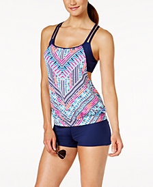 JAG Chevron-Print Layered Tankini Top & Swim Boyshorts